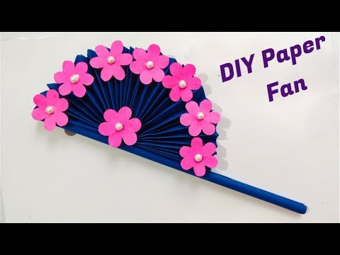 How to make Diy hand fan Out Of Colour papers/ DIY Paper Craft ideas