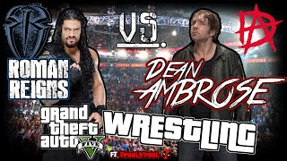 gta wrestling roman reigns vs dean ambrose on maze bank towers