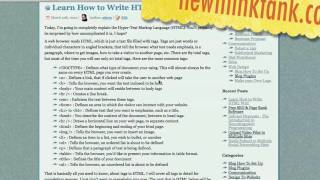 HTML W3C Tutorial Pt 1