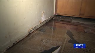 Water pours into woman`s kitchen in NYCHA building