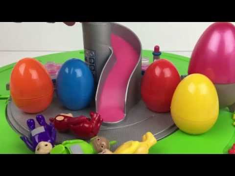Tomy Teletubbies Home Hill Playset Tinky Winky Dipsy Laa-Laa And Po with Surprise Eggs
