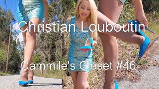 Christian Louboutin So Kate, Walking in Blue suede shoes Cammile's Closet #46