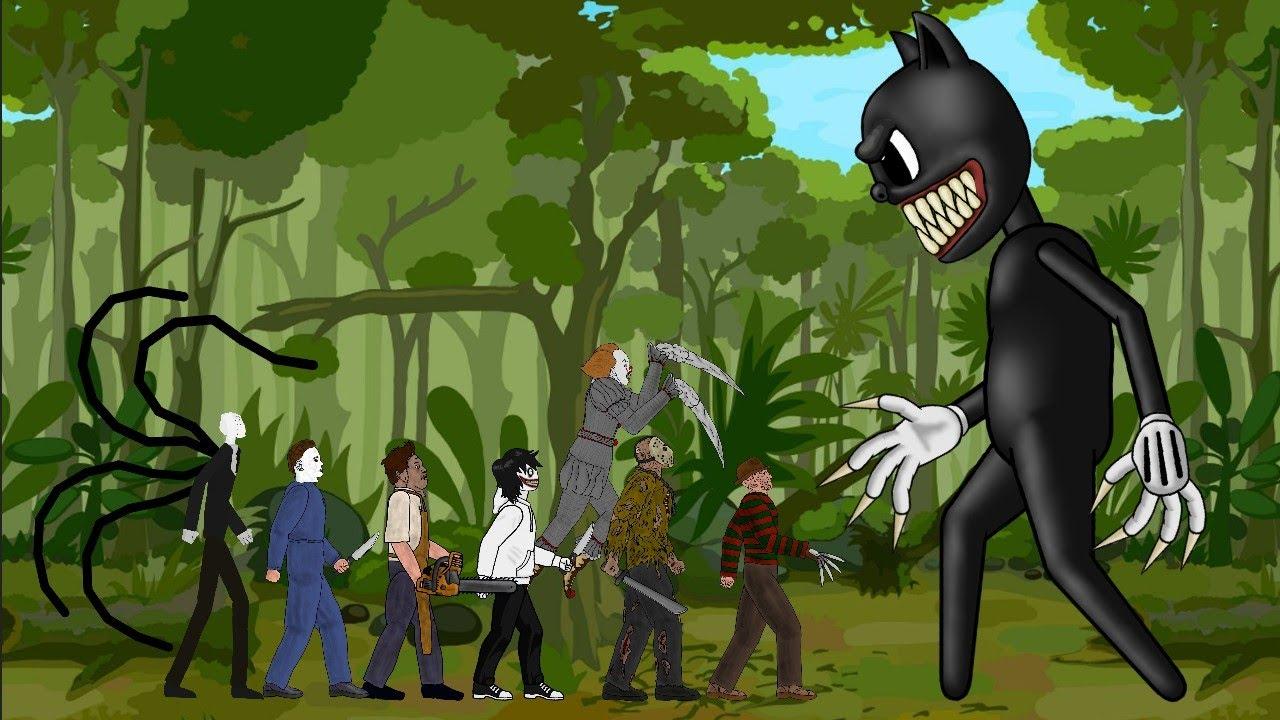 Cartoon Cat vs Jason Voorhees, SLENDERMAN, Michael, IT Pennywise, Freddy, Leatherface, Jeff [Dc2]