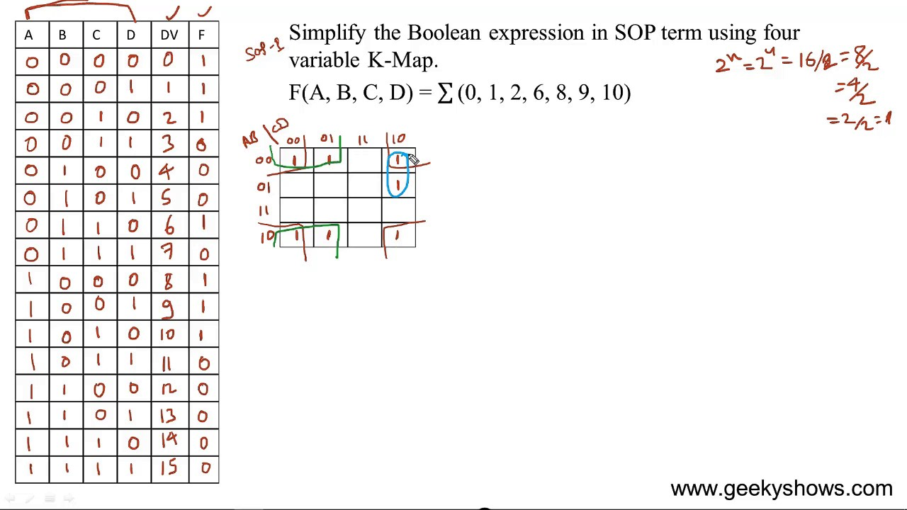 Simplify 4 Variable expression in SOP Term using K Map (Hindi) on k map numbers, k map generator, k map reduction, k map example,