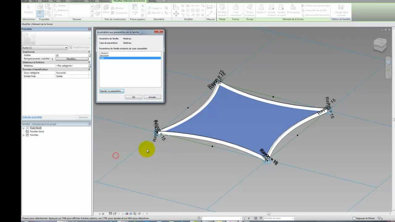Revit 2012 - Panneau de mur rideau adaptatif - YouTube