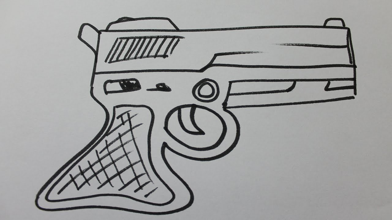 Comment dessiner un pistolet facile youtube - Image de dessin facile ...