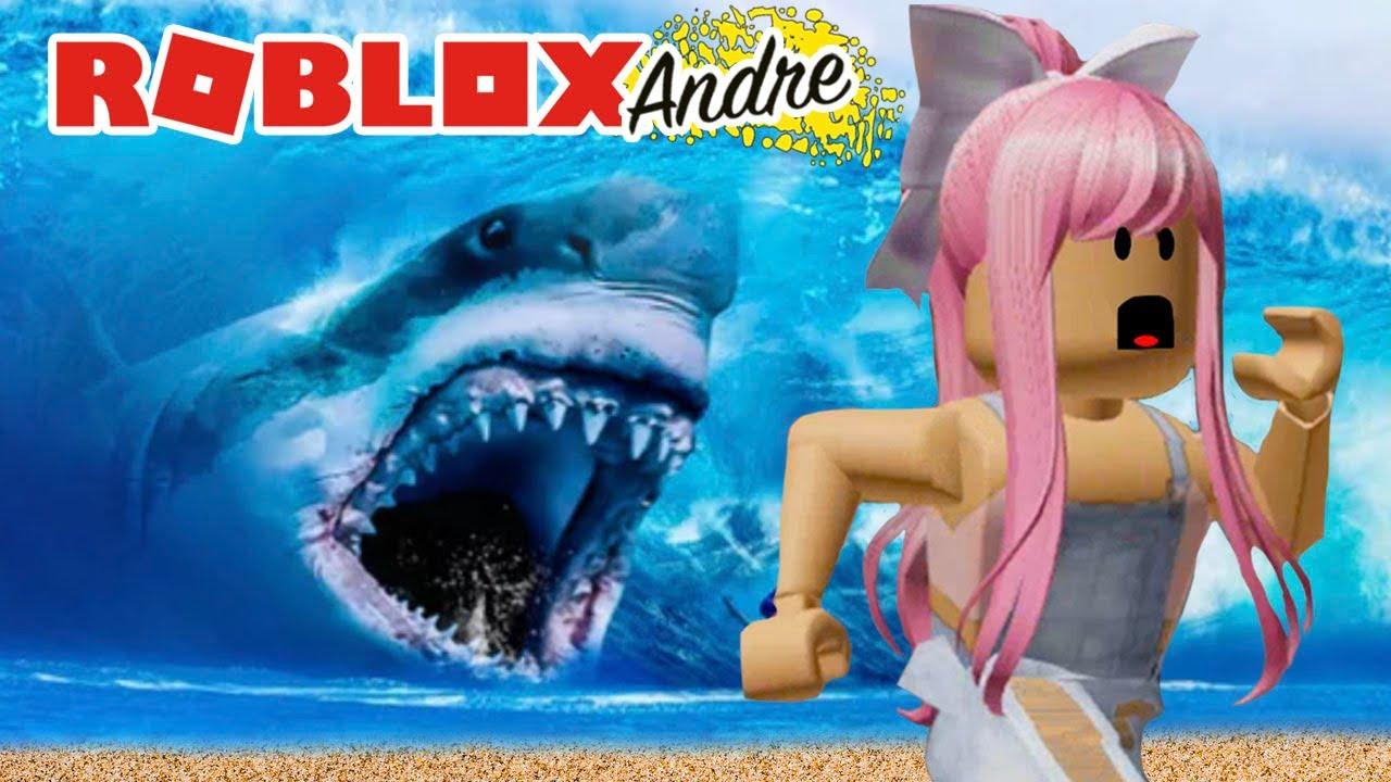 Roblox Andre   Sobreviviendo tsunami con tiburones!