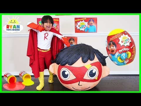 Superhero Kid Ryan Red Titan BIGGEST GIANT EGG SURPRISE OPENING with Ryan's World Toys!!!