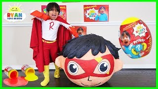 Superhero Kid Ryan Red Titan BIGGEST GIANT EGG SURPRISE OPENING with Ryan\'s World Toys!!!