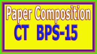 NTS CT BPS-15 Paper Composition