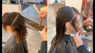 How to Bob haircut for curly hair & Long layered bob haircut