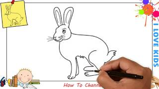 How to draw a rabbit (bunny) EASY step by step for kids, beginners, children 2