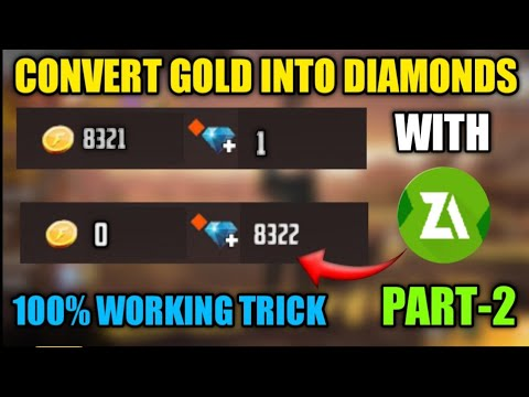 How To Convert Gold Coin Into Diamonds In Free Fire | 100% Working Trick | With Zarchiver | Part-2