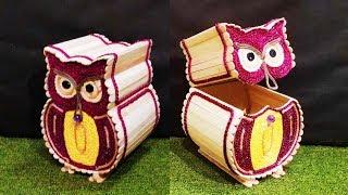 DIY, Owl Shape Jewelry Box, diy Organization box, popsicle stick crafts, Ice cream Stick Crafts