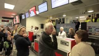 Flashmob performance at Cardiff Airport