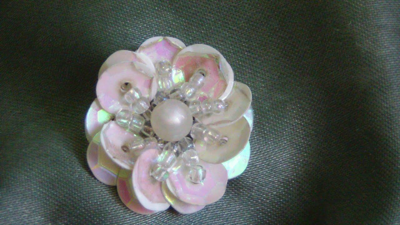 Flor con lentejuelas proyecto 146 youtube - Flores de telas hechas a mano ...