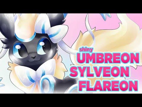 Shiny Umbreon + Flareon + Sylveon - Speedpaint