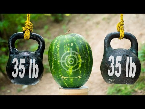 Oncoming Flying Kettlebells VS A Watermelon