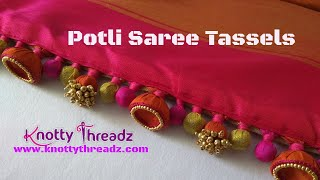 Designer Aari Work Saree Edging | Saree Tassels Using Jhumkas and Potlis | www.knottythreadz.com
