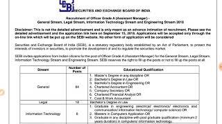 SEBI Recruitment 2018 Assistant Manager Grade A - 120 vacancies ✔✔
