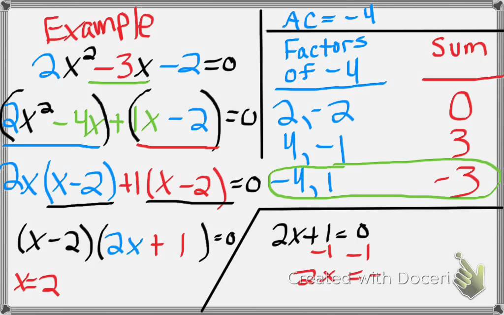 Algebra 1 87 Factoring Solving Ax2BxC 0 YouTube – Factoring Ax2 Bx C Worksheet