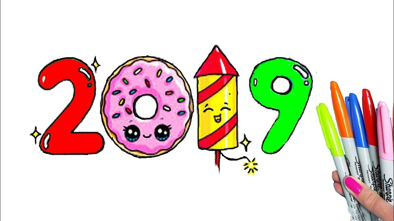 Como Dibujar Y Colorear Año 2019 Dibujos Kawaii Para Dibujar Niños
