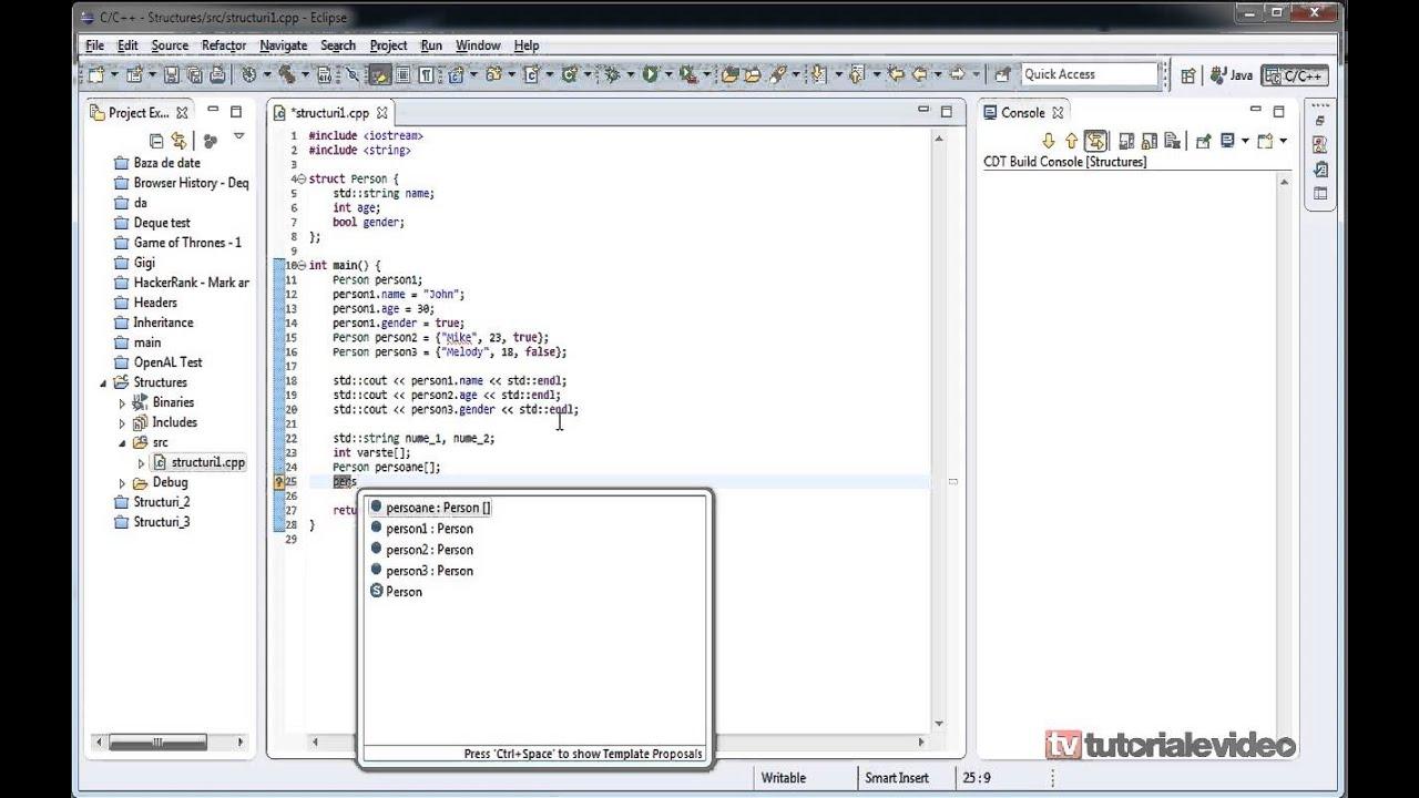 Tutoriale Video c++ tutorial video nr 18 despre structuri partea 1