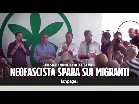 Sparatoria Macerata, Luca Traini (candidato della Lega) al comizio di Matteo Salvini