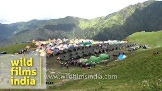 Tented accommodations for devotees en route Nanda Devi Raj Jat Yatra