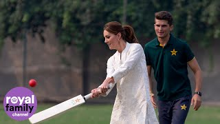 Duke and Duchess of Cambridge Show off Their Cricket Skills During Pakistan Academy Visit