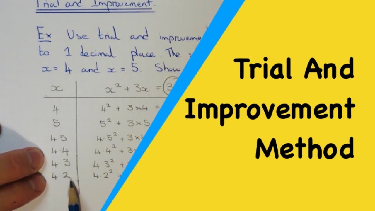how to solve an equation by trial and improvement error method Trial and improvement you might need to use this method if you are asked to solve an equation where there is no exact answer you may also be asked to give the solution to a given number of decimal places or significant figures the question should indicate the degree of accuracy required.