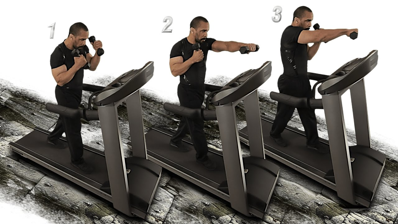 Combat Punch Walk 1 Dumbbell Treadmill - YouTube