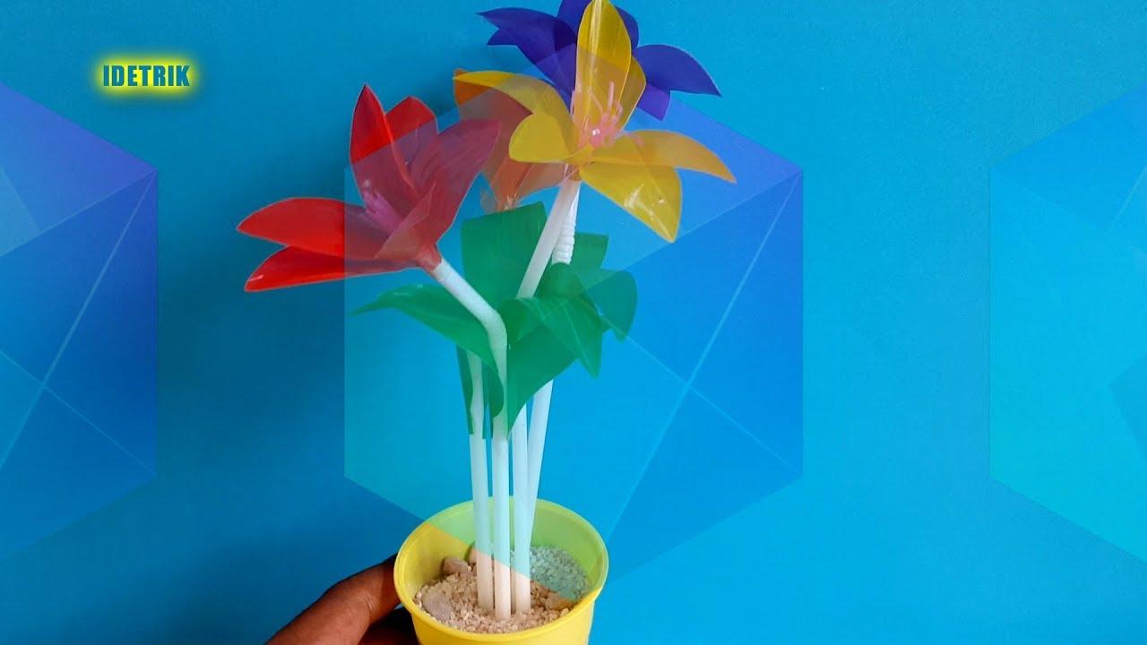 Wow Begitu Mudahnya Cara Membuat Bunga Manis Dari Sedotan Bunga Sederhana