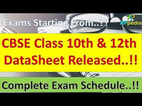 CBSE Class 10th & 12th Datasheet 2018 🔥 | CBSE Official Datesheet..!!