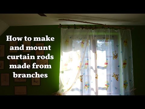 Curtain Rod made from wooden branches (how to make and hang)