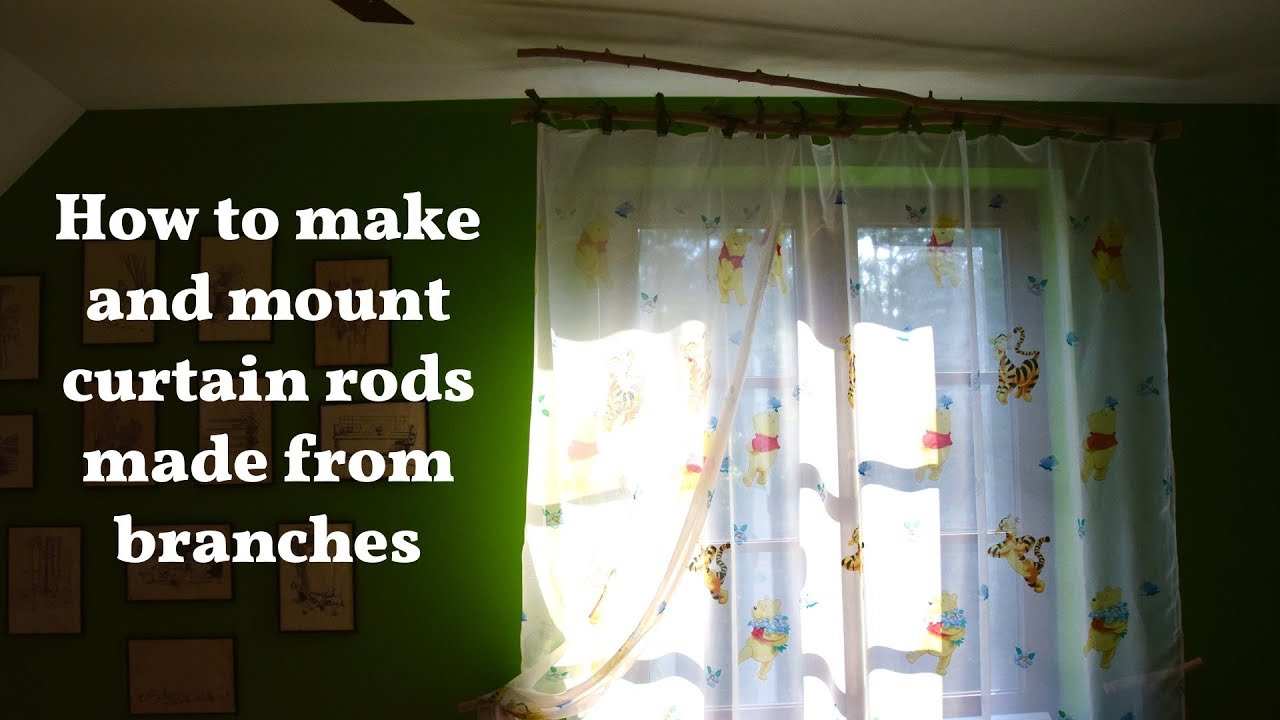 Mounting Curtain Rods Curtain Rod Made From Wooden Branches How To Make And Hang