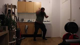 Martial arts training Three hammer fists with right