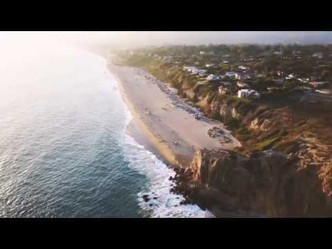 Coastal Cliffs Drone Waves At Malibu