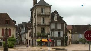 Salies de Béarn est inondée. Le Saleys est sorti de son lit