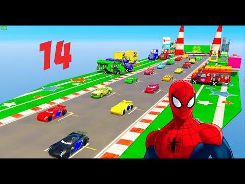 Disney Cars 3 Racing Cartoon #14 Jump Left or Right?  Storm Cruz Miss Fritter Doc Spiderman @Chakotv
