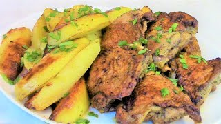 Как приготовить вкусную курицу с картошкой на сковороде .