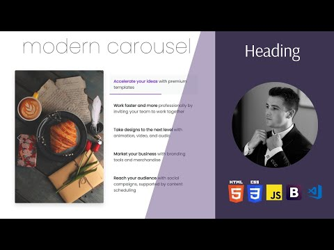 Build a Modern Image Slider [ Carousel ] using HTML CSS Bootstrap and { JavaScript }