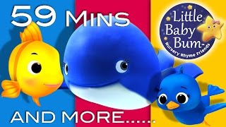 Repeat youtube video The Little Blue Whale | Plus Lots More Nursery Rhymes | 59 Minutes Compilation from LittleBabyBum!