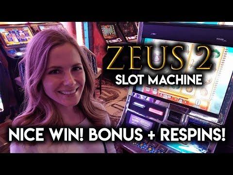 Zeus 2 Slot Machine! Bonus and lots of Respins!!!