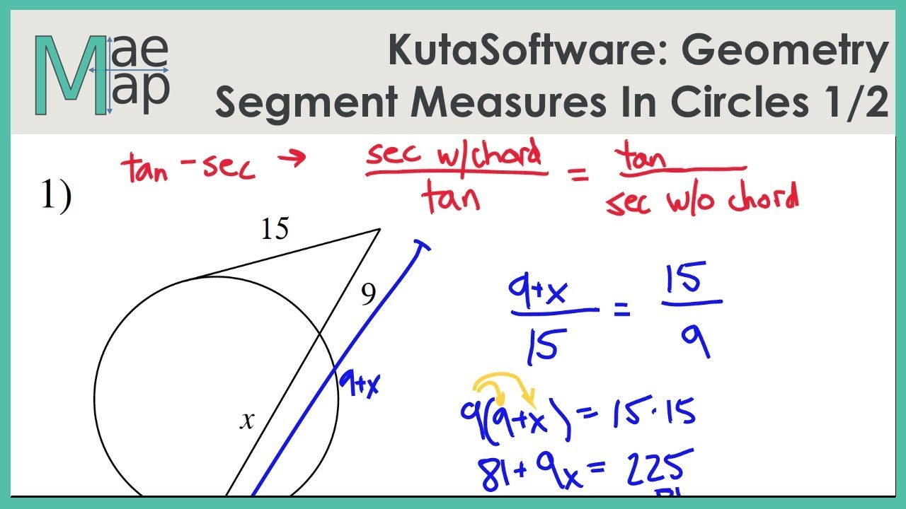 Kutasoftware Geometry Segment Lengths In Circles Part 1 Youtube