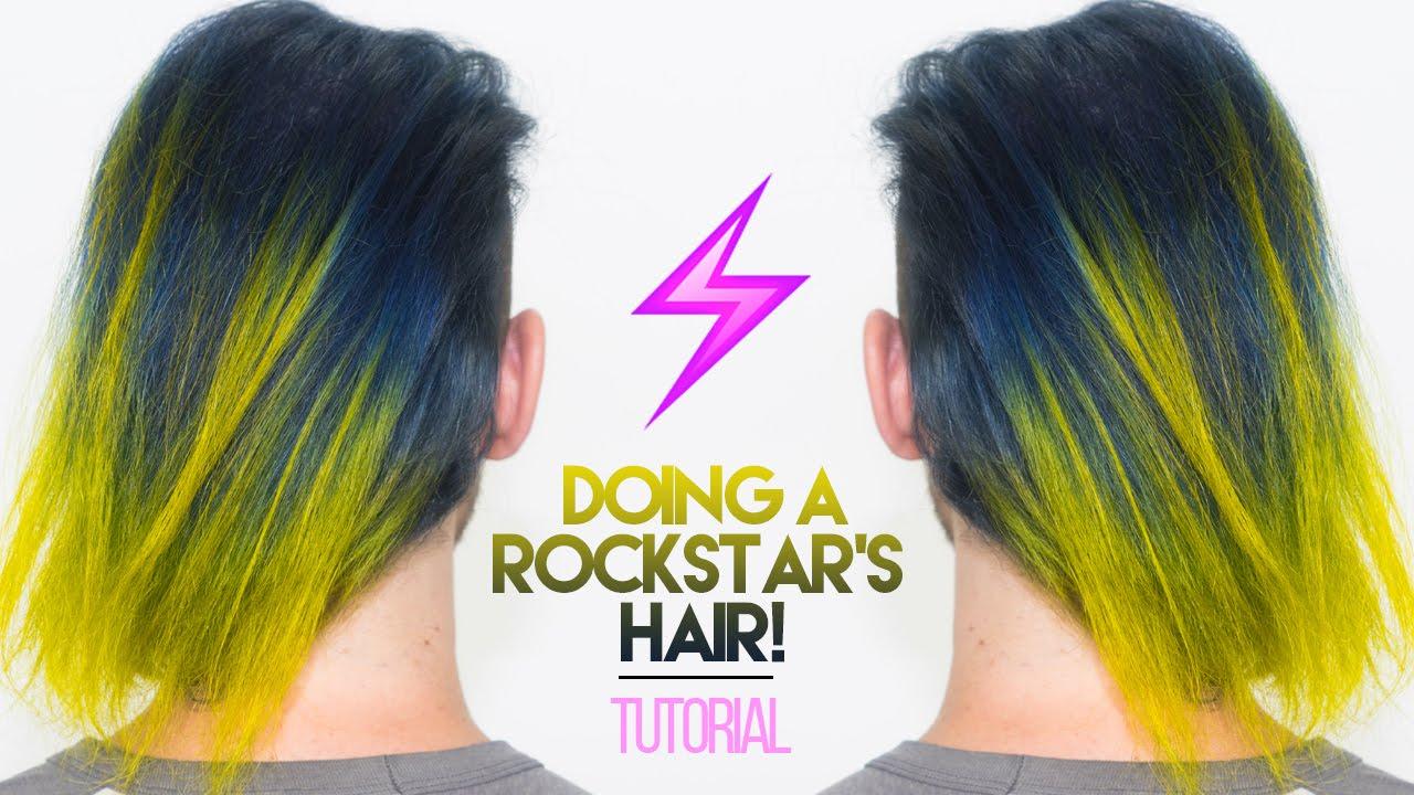 How To Bleach Dye A Rockstars Hair Navy Blue Neon Yellow