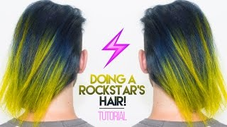 How To: Bleach & Dye A Rockstar's Hair Navy Blue & Neon Yellow! | KristenLeanneStyle
