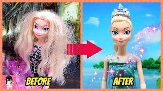 Biến hóa Búp bê #7 Nữ hoàng Băng Giá Elsa / Làm mượt tóc - thay trang phục búp bê / Ami DIY
