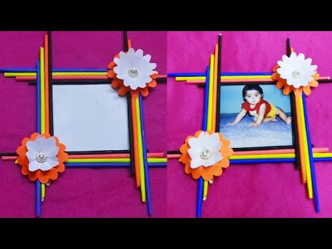 Make Awesome Photo Frame With Paper Sticks | Photo frame making at home | Photo frame