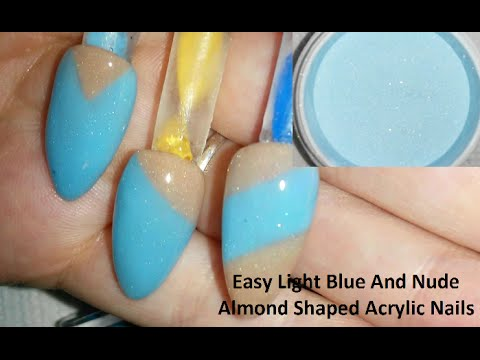 Easy Light Blue And Nude Almond Shaped Acrylic Nails - YouTube